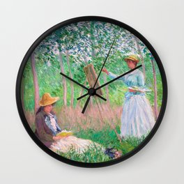 Claude Monet - In the Woods at Giverny, Blanche Hoschedé at Her Easel with Suzanne Hoschedé Reading Wall Clock