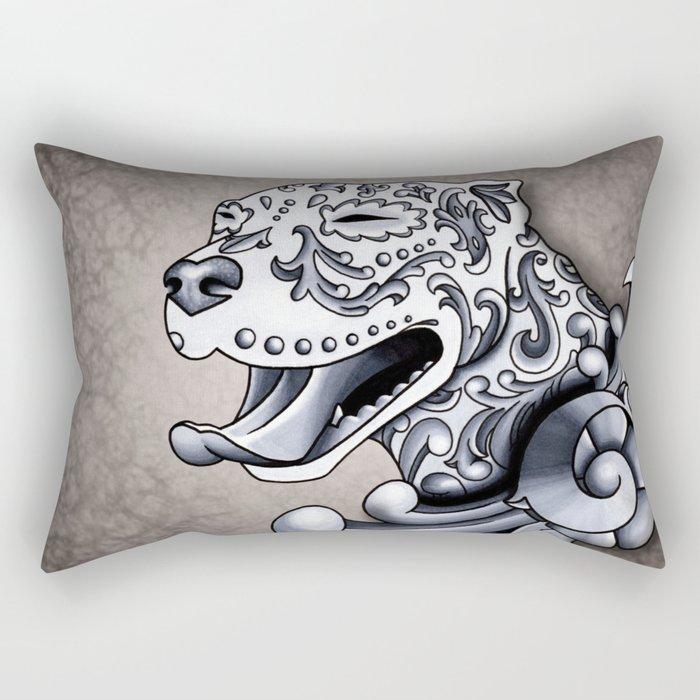 Ornamental Pit Bull - Black and Grey Filigree Pitbull Rectangular Pillow