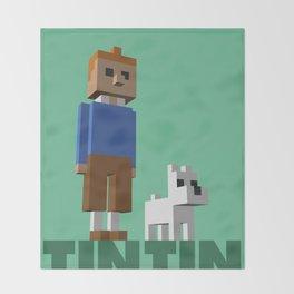 Tintin voxel tribute Throw Blanket