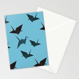 Blue origami cranes Stationery Cards
