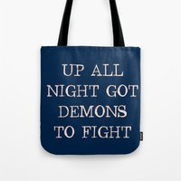 inner demons Tote Bags featuring Demons by Leona LA