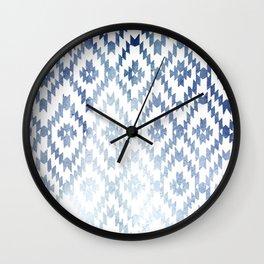 Indigo Ikat Print 3 Wall Clock