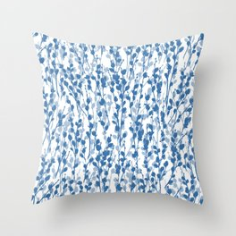 Petite Double Pussywillow Pattern — Blue Throw Pillow