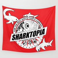 cameras Wall Tapestries featuring Breaking News: Sharks Get Shot...With Cameras - Sharktopians Rejoice!  by sharktopia