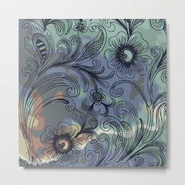 Floral Line Art with Watercolor Metal Print
