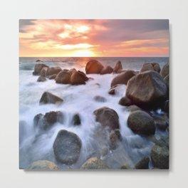 Rocky Shore Seascape Sunset Metal Print