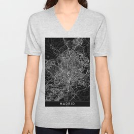 Madrid Black Map Unisex V-Neck