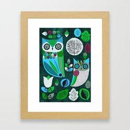 Night Owls Retro Pattern Framed Art Print