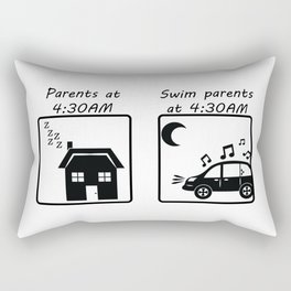 Swim Parents at 4:30AM WHITE/BLACK Rectangular Pillow