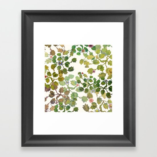 Water Color Garden With Flowers Framed Art Print By
