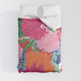 Pretty Colorful Big Flowers Hand Paint Design Comforters