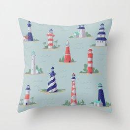 Nautical Lighthouses Coastal Print Throw Pillow