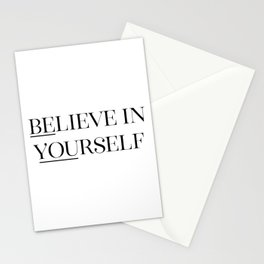 Believe In Yourself, Black And White, Printable Quote, Wall Art, Printable Quote Stationery Cards