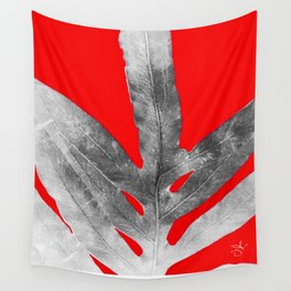 Green Fern on Red Inverted Wall Tapestry