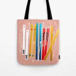 Colorful Ski Illustration and Pattern no 2 Tote Bag