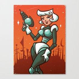Retro Robo Girl Canvas Print