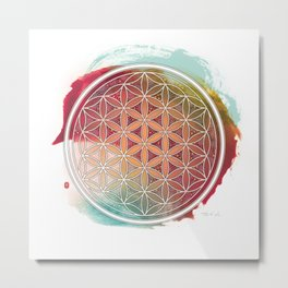 Meditative Flower Of Life Metal Print