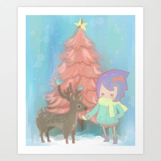 The deer with me. Art Print