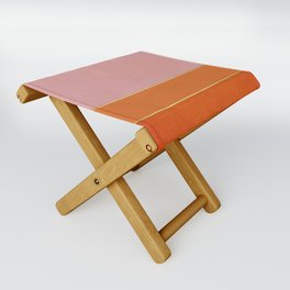 Orange, Pink And Gold Abstract Painting Folding Stool