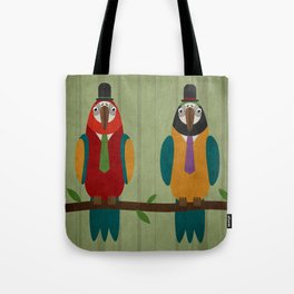 Suited parrots Tote Bag