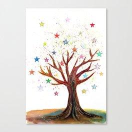 Star Tree Illustration Art Canvas Print