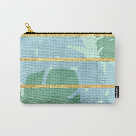 Leaves Pattern Golden Stripes Carry-All Pouch