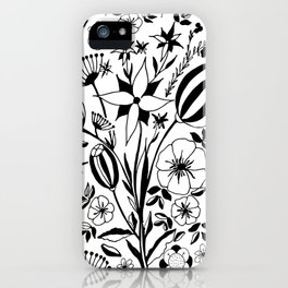 Black and white floral bouquet, hand-drawn iPhone Case