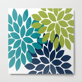 Bold Colorful Teal Green Navy Dahlia Flower Burst Petals Metal Print