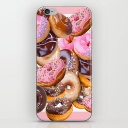 MODERN ART PINK & CHOCOLATE DONUT PASTRY MONTAGE iPhone Skin