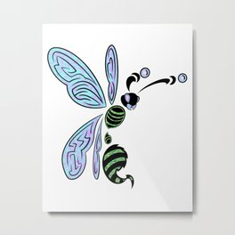 Trippy wasp Metal Print