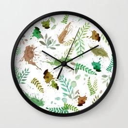 Green Leaves, Paint Splatter, Pattern Wall Clock