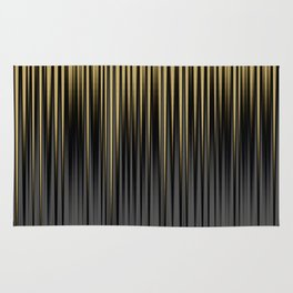 Modern Yellow and Black Jagged Ribbed Stripe Pattern Rug