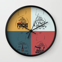 movie posters Wall Clocks featuring Four Hitchcock Movie Posters in One (Psycho, The Birds, North by Northwest, Notorious) by Stefanoreves
