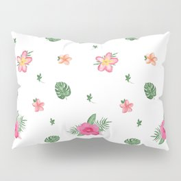 Pretty Pink Tropical Flower Patten Pillow Sham