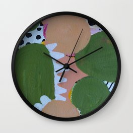 Abstrct Desert Greens Cactus Wall Clock