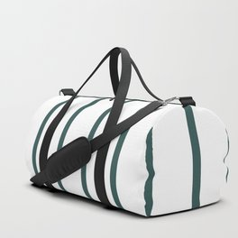 Vertical Lines (Jungle Green & White Pattern) Duffle Bag