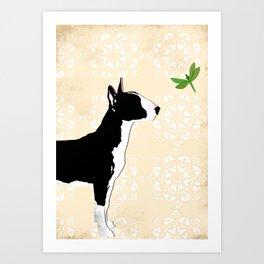English Bull Terrier Dog in black Art Print