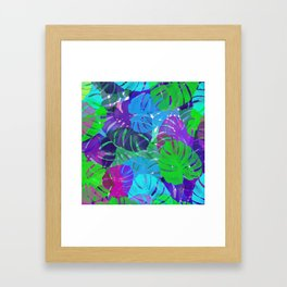 monstera leaves tropical Framed Art Print