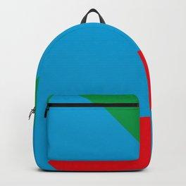 Blue dog, strange red nose, green Background. OR Blue Face, Green hair, big Red Mouth. You Choose. Backpack