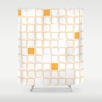 orange pattern Shower Curtains featuring Orange Pattern  by Tessa Maree Hamilton