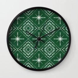 Shibori Style Star Pattern on Green Wall Clock
