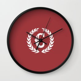 Rustic Red Monogram: Letter C Wall Clock