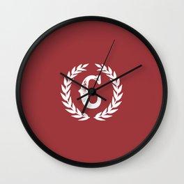 Rustic Red Monogram: Letter C Wall Clock