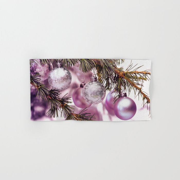 Pink Christmas shimmering baubles twig Hand & Bath Towel