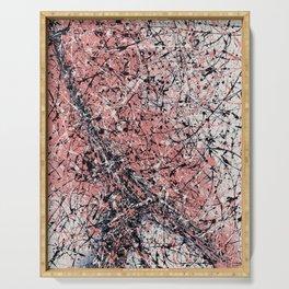 Paris - Jackson Pollock style drip painting design, Abstract art prints Serving Tray