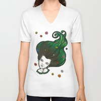 flora V-neck T-shirts featuring Flora by Melanie Arias
