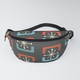 Mid Century Modern Starburst Shells Blue and Orange Fanny Pack