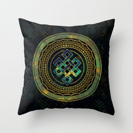 Marble and Abalone Endless Knot  in Mandala Decorative Shape Throw Pillow