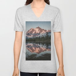 Cascade Sunset - Mt. Shuksan - Nature Photography Unisex V-Neck