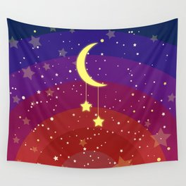 Pretty crescent with stars Wall Tapestry